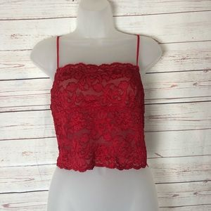 Hanky Panky Red Lace Crop Cami Bralette Size L